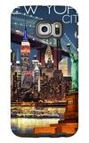 New York City, NY - Skyline at Night Galaxy S6 Edge Case by  Lantern Press