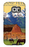 Grand Teton National Park - Barn and Mountains Galaxy S6 Edge Case by  Lantern Press