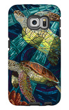 Sea Turtle - Paper Mosaic Galaxy S6 Edge Case by  Lantern Press