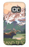 Grand Teton National Park - Moose and Mountains Galaxy S6 Edge Case by  Lantern Press
