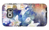 Artistic Abstract Watercolor Painting with Lily Flowers on Paper Texture Galaxy S6 Edge Case by  run4it