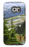 Glacier National Park - Going to the Sun Road and Hikers Galaxy S6 Edge Case by  Lantern Press