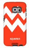 Aquarius Zodiac Sign White on Orange Galaxy S6 Edge Case by  NaxArt