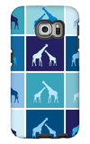 Blue Giraffe Squares Galaxy S6 Edge Case by  Avalisa