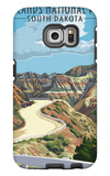 Badlands National Park, South Dakota - Road Scene Galaxy S6 Edge Case by  Lantern Press