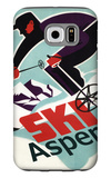 Ski in Colorado Vintage Skier - Aspen, Colorado Galaxy S6 Case by  Lantern Press