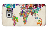 Typographic Text World Map Galaxy S6 Case by Michael Tompsett