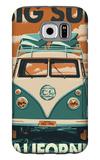 Big Sur, California - VW Van Blockprint Galaxy S6 Case by  Lantern Press