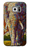 Elephant - Paper Mosaic Galaxy S6 Case by  Lantern Press