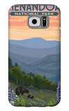 Shenandoah National Park, Virginia - Black Bear and Cubs Spring Flowers Galaxy S6 Case by  Lantern Press