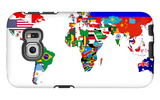 Map Of World With Flags In Relevant Countries, Isolated On White Background Galaxy S6 Edge Case by  Speedfighter