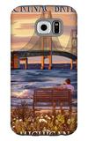 Mackinac Bridge and Sunset, Michigan Galaxy S6 Case by  Lantern Press