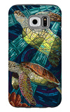 Sea Turtle - Paper Mosaic Galaxy S6 Case by  Lantern Press