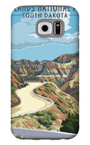 Badlands National Park, South Dakota - Road Scene Galaxy S6 Case by  Lantern Press