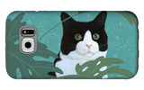 Black and White Cat with Green Eyes Galaxy S6 Case