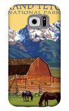 Grand Teton National Park - Barn and Mountains Galaxy S6 Case by  Lantern Press
