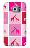 Pink Giraffe Squares Galaxy S6 Case by  Avalisa