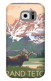 Grand Teton National Park - Moose and Mountains Galaxy S6 Case by  Lantern Press