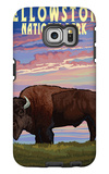 Yellowstone National Park - Bison and Sunset Galaxy S6 Edge Case by  Lantern Press