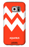 Aquarius Zodiac Sign White on Orange Galaxy S6 Case by  NaxArt