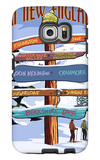 New England - Ski Areas Sign Destinations Galaxy S6 Edge Case by  Lantern Press