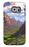 Zion National Park - Zion Canyon View Galaxy S6 Edge Case by  Lantern Press