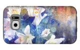 Artistic Abstract Watercolor Painting with Lily Flowers on Paper Texture Galaxy S6 Case by  run4it