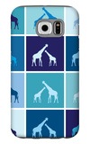 Blue Giraffe Squares Galaxy S6 Case by  Avalisa