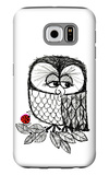 Retro Black and White Owl with Ladybug Galaxy S6 Case