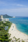 Waikiki Beach and Diamond Head, Waikiki, Honolulu, Oahu, Hawaii, United States of America, Pacific Photographic Print by Michael DeFreitas