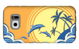 Seascape Waves Poster With Dolphins Galaxy S6 Case by  GeraKTV