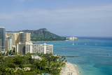 Waikiki Beach and Diamond Head, Waikiki, Honolulu, Oahu, Hawaii, United States of America, Pacific Reproduction photographique par Michael DeFreitas