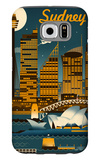 Sydney, Australia - Retro Skyline Galaxy S6 Case by  Lantern Press