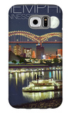 Memphis, Tennessee - Memphis Skyline at Night Galaxy S6 Case by  Lantern Press