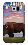 Yellowstone National Park - Bison and Sunset Galaxy S6 Case by  Lantern Press