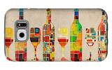 Wine Bottle and Glass Group Geometric Galaxy S6 Case by  Lantern Press