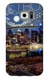 Detroit, Michigan - Skyline at Night Galaxy S6 Case by  Lantern Press