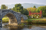 Tu Hwnt I'R Bont Tearoom and Pont Fawr (Big Bridge) in Autumn, Llanrwst, Snowdonia, Conwy, Wales Photographic Print by Stuart Black