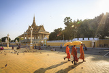 Buddhist Monks at a Square in Front of the Royal Palace, Phnom Penh, Cambodia, Indochina Photographic Print by Yadid Levy