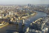 Elevated View of the River Thames Looking East Towards Canary Wharf with Tower Bridge Photographic Print by Amanda Hall