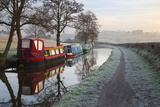 Barges on Monmouthshire and Brecon Canal in Frost Photographic Print by Stuart Black