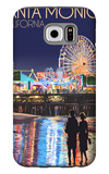 Santa Monica, California - Pier at Night Galaxy S6 Case by  Lantern Press
