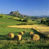 Chateau De Polignac and Hay Bales, Polignac, Haute-Loire, Auvergne, France Photographic Print by Stuart Black