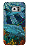 Black Tip Reef Shark - Paper Mosaic Galaxy S6 Case by  Lantern Press