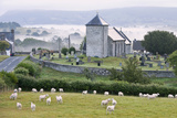 Early Morning Mist in the Valleys Surrounds St. David's Church Fotoprint van Graham Lawrence