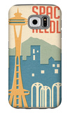 Seattle, Washington - Space Needle Woodblock Galaxy S6 Case by  Lantern Press