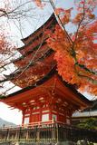 Five-Storey Pagoda (Gojunoto) in Autumn, Miyajima Island, Western Honshu, Japan Stampa fotografica di Stuart Black
