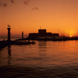 Mandraki Harbour at Sunrise, Rhodes Town, Rhodes Island, Dodecanese Islands, Greek Islands, Greece Photographic Print by Stuart Black
