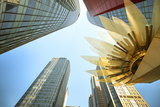 Glass and Golden Metal Lotus Installation in Front of HsBC Bank Photographic Print by Andreas Brandl