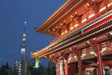 Senso-Ji Temple and Skytree Tower at Night, Asakusa, Tokyo, Japan, Asia Photographic Print by Stuart Black